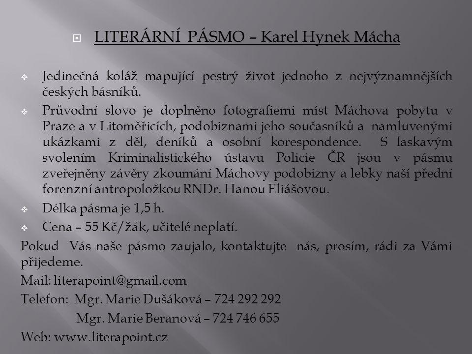 LITERÁRNÍ PÁSMO – Karel Hynek Mácha
