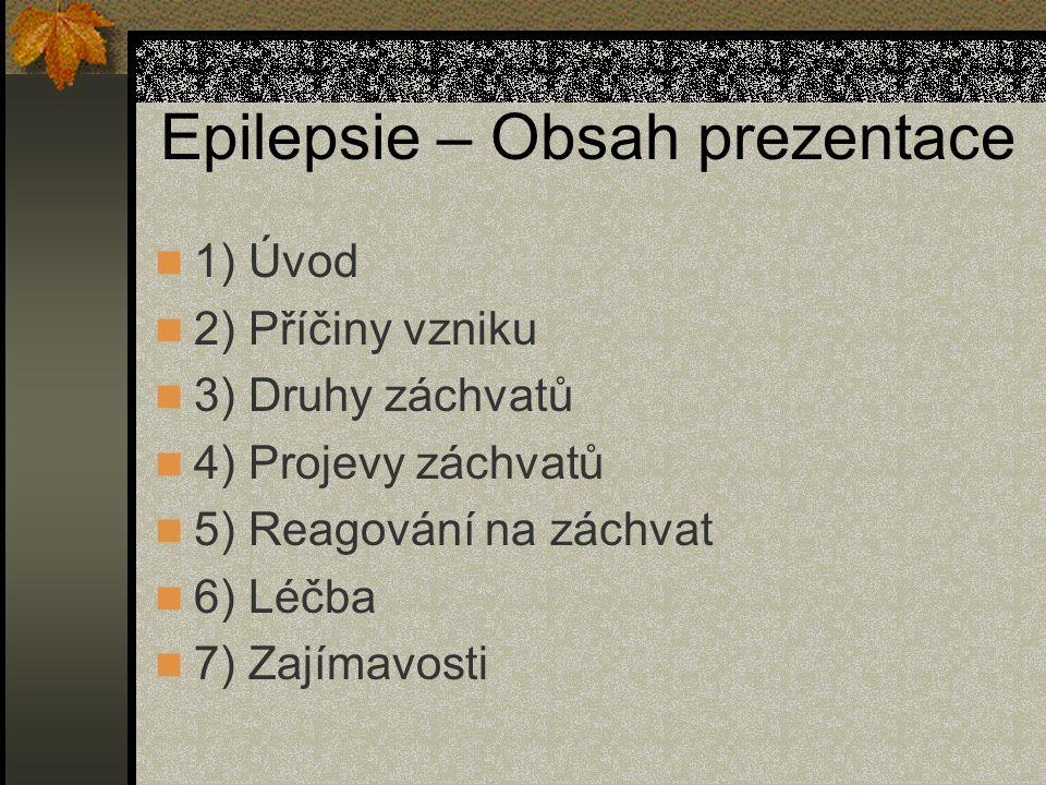 Epilepsie – Obsah prezentace