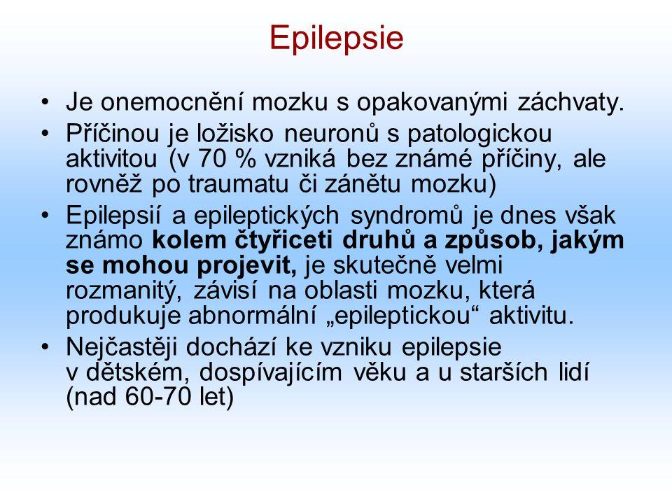 Epilepsie Je onemocnění mozku s opakovanými záchvaty.