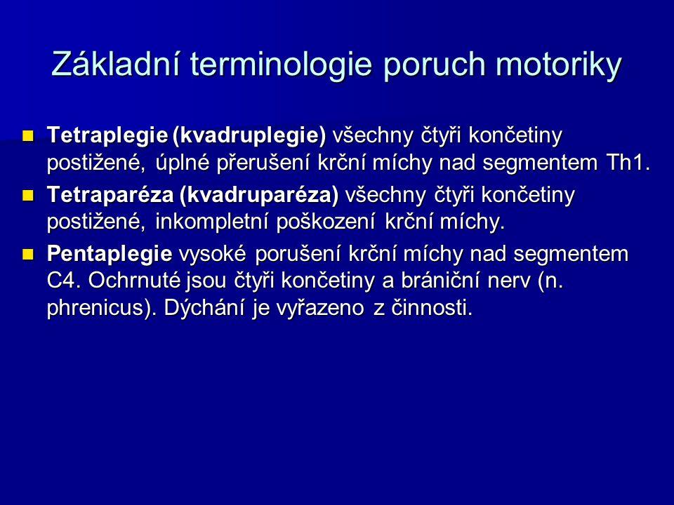 Základní terminologie poruch motoriky