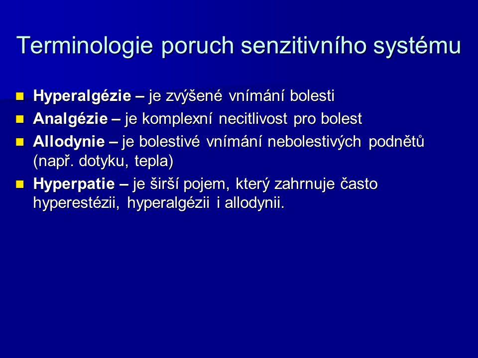 Terminologie poruch senzitivního systému