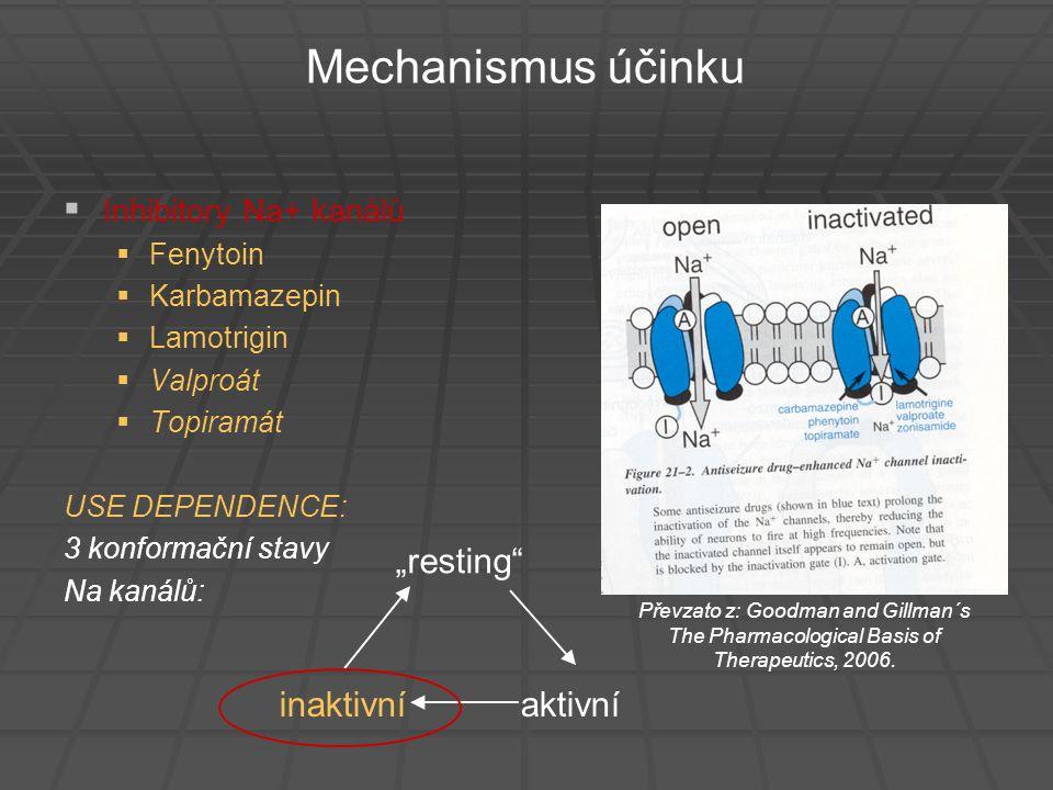 """Mechanismus účinku """"resting inaktivní aktivní Inhibitory Na+ kanálů"""
