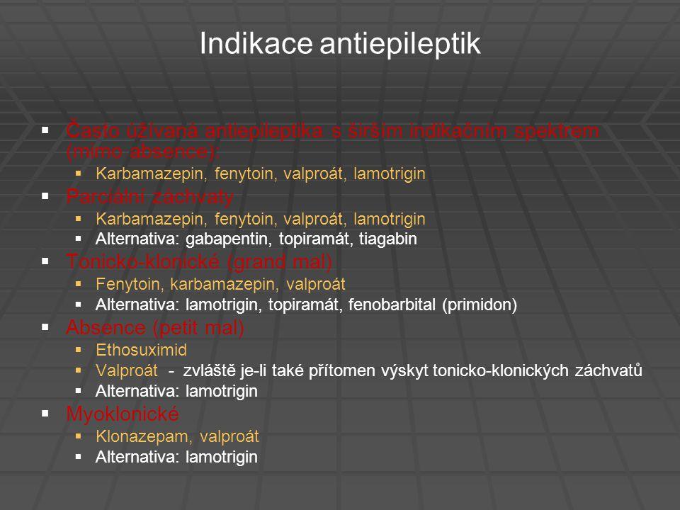 Indikace antiepileptik