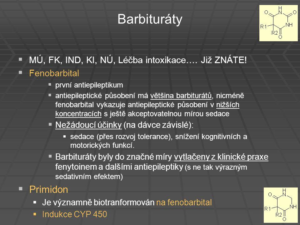 Barbituráty MÚ, FK, IND, KI, NÚ, Léčba intoxikace…. Již ZNÁTE! Fenobarbital. první antiepileptikum.