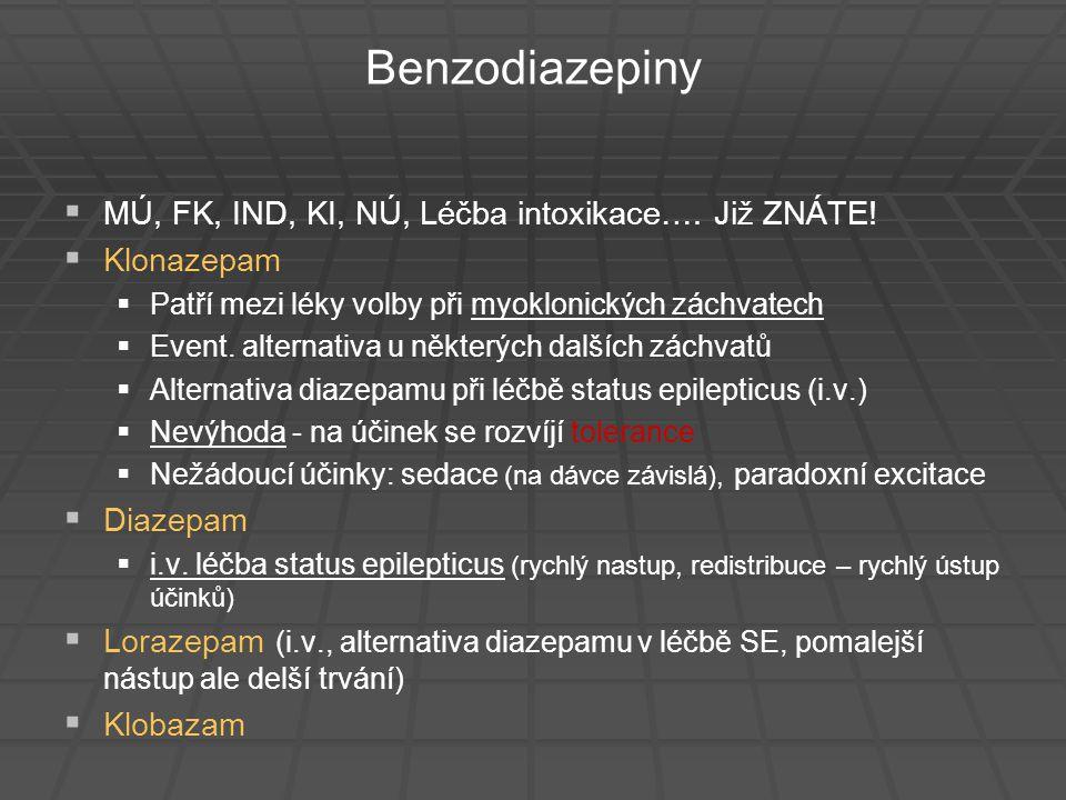 Benzodiazepiny MÚ, FK, IND, KI, NÚ, Léčba intoxikace…. Již ZNÁTE!