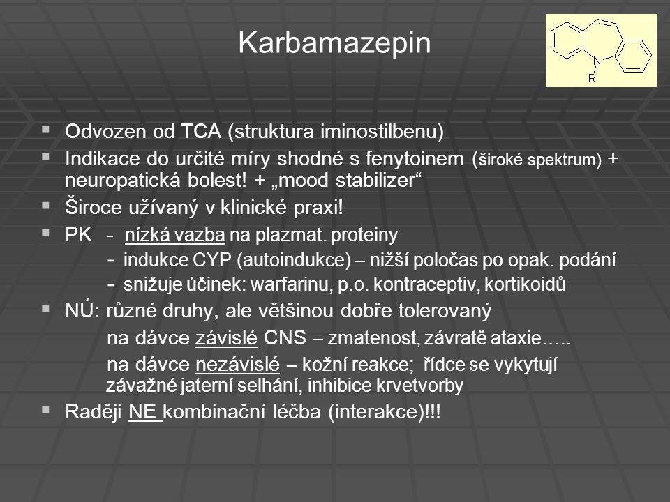 Karbamazepin Odvozen od TCA (struktura iminostilbenu)