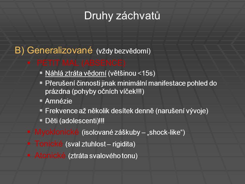 Druhy záchvatů B) Generalizované (vždy bezvědomí) PETIT MAL (ABSENCE)