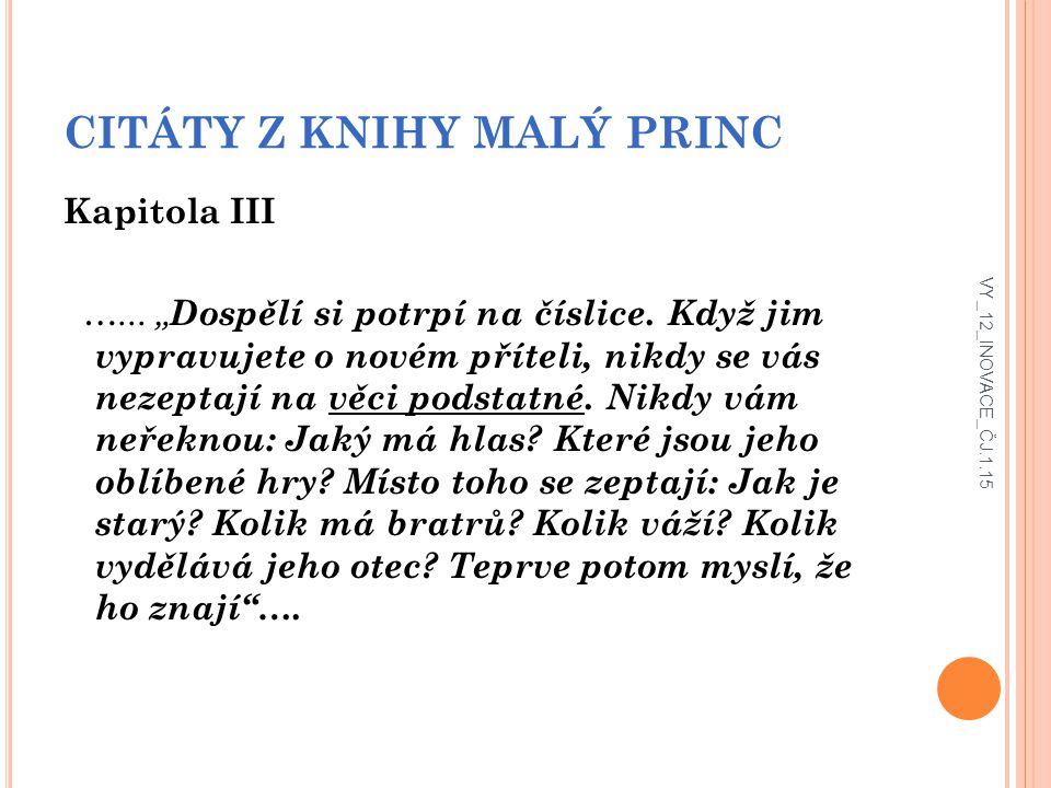 CITÁTY Z KNIHY MALÝ PRINC