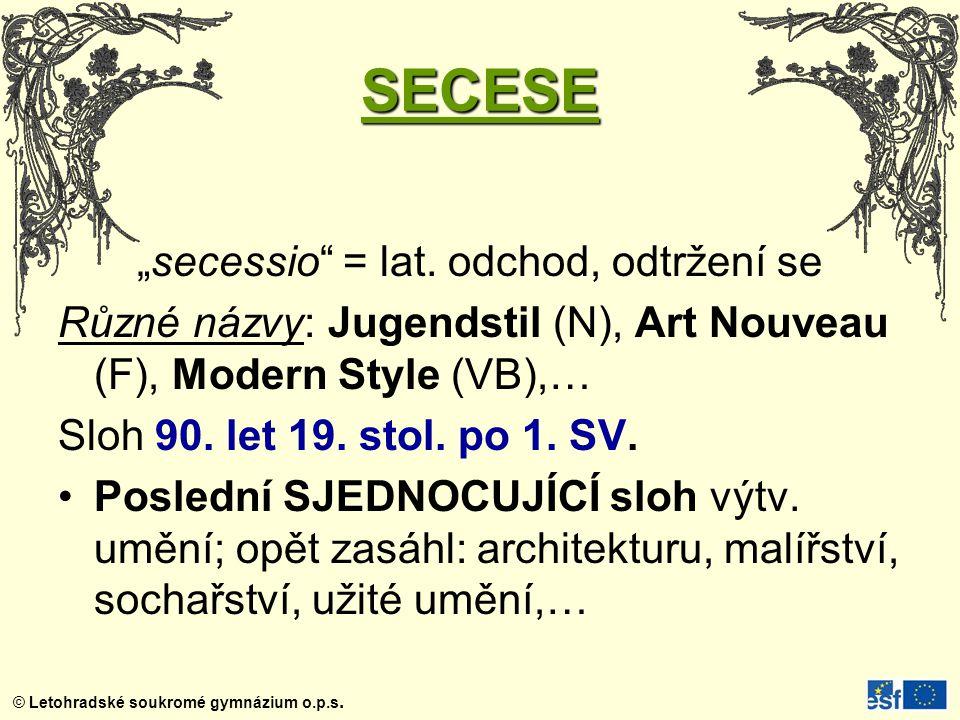 """""""secessio = lat. odchod, odtržení se"""