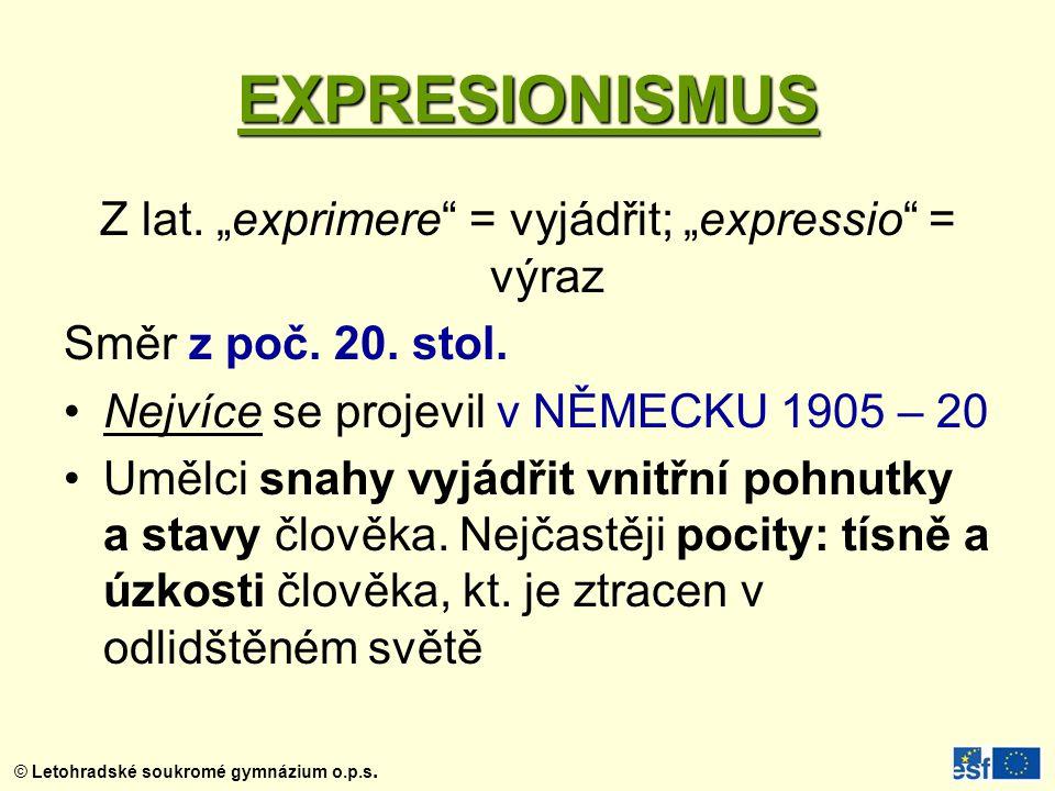 """Z lat. """"exprimere = vyjádřit; """"expressio = výraz"""
