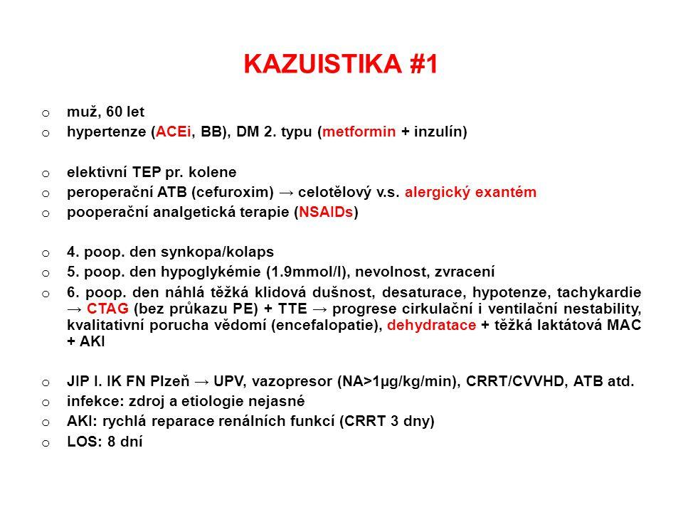 KAZUISTIKA #1 muž, 60 let. hypertenze (ACEi, BB), DM 2. typu (metformin + inzulín) elektivní TEP pr. kolene.