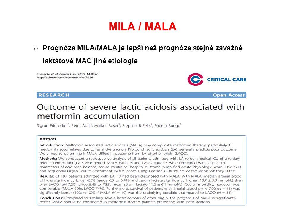 MILA / MALA Prognóza MILA/MALA je lepší než prognóza stejně závažné laktátové MAC jiné etiologie. MALA vs. MILA.