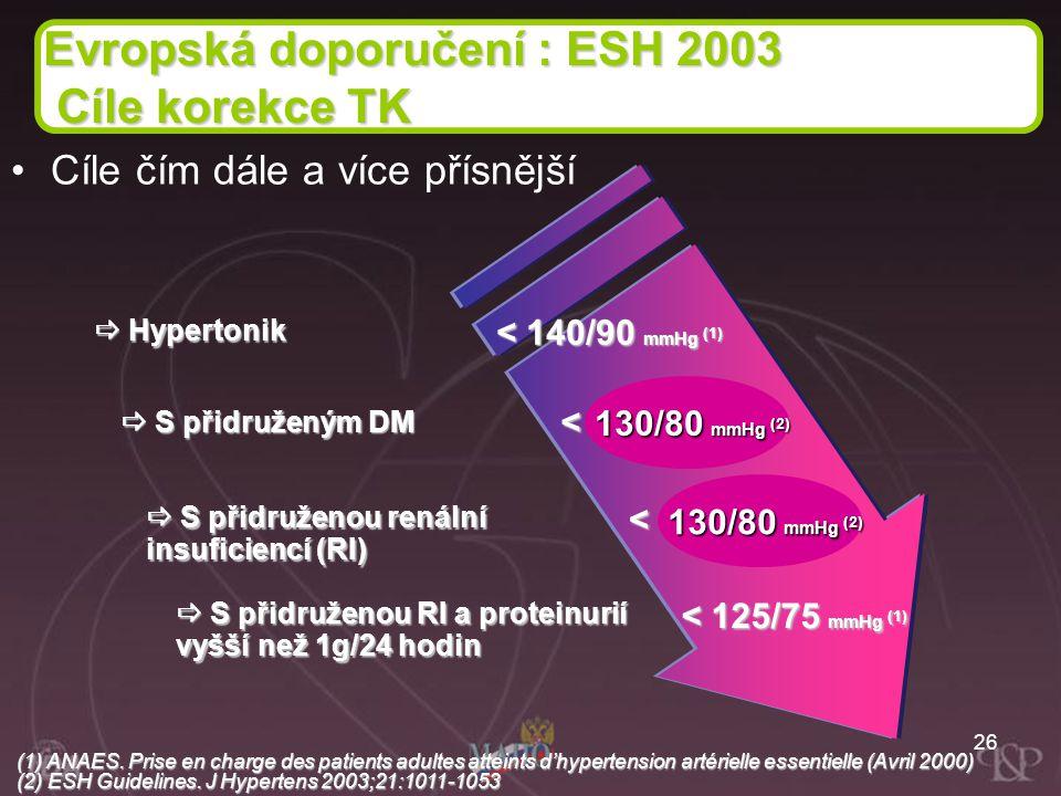 Evropská doporučení : ESH 2003 Cíle korekce TK
