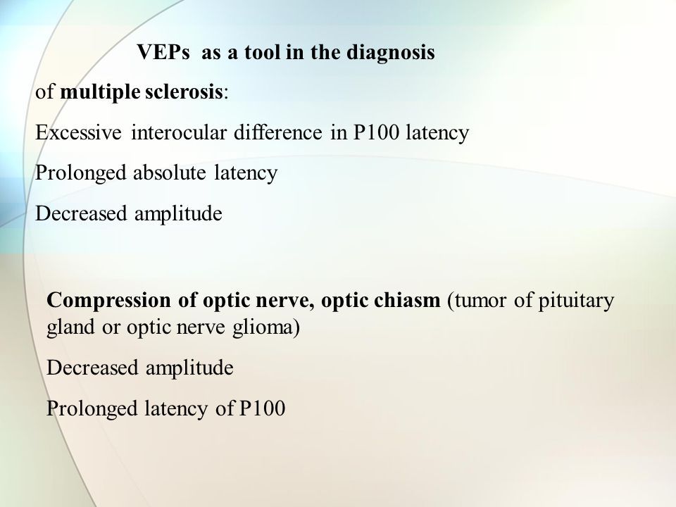 VEPs as a tool in the diagnosis