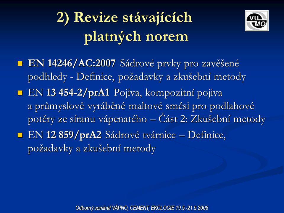 2) Revize stávajících platných norem