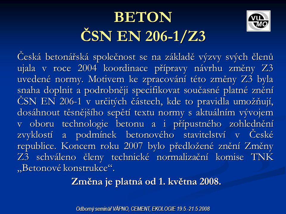 BETON ČSN EN 206-1/Z3