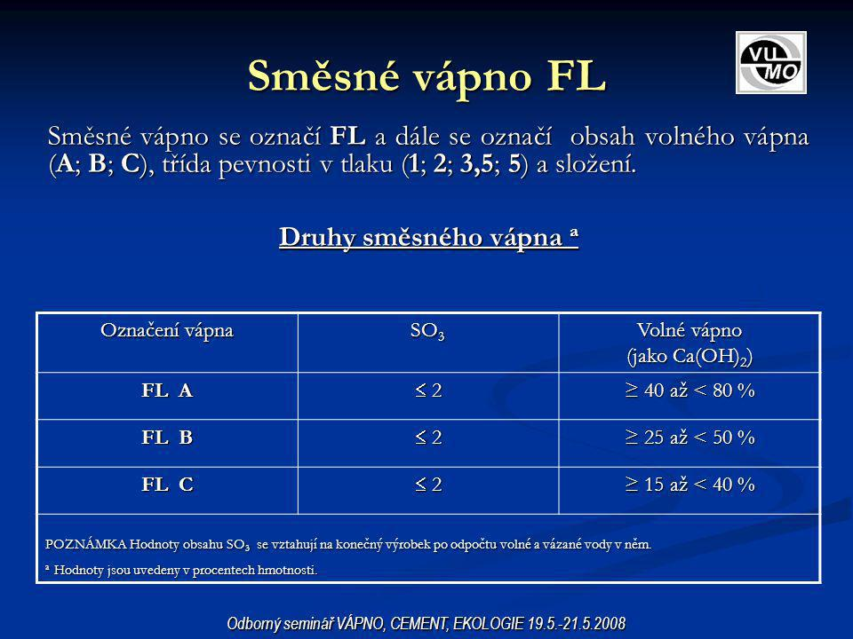 Směsné vápno FL Směsné vápno se označí FL a dále se označí obsah volného vápna (A; B; C), třída pevnosti v tlaku (1; 2; 3,5; 5) a složení.