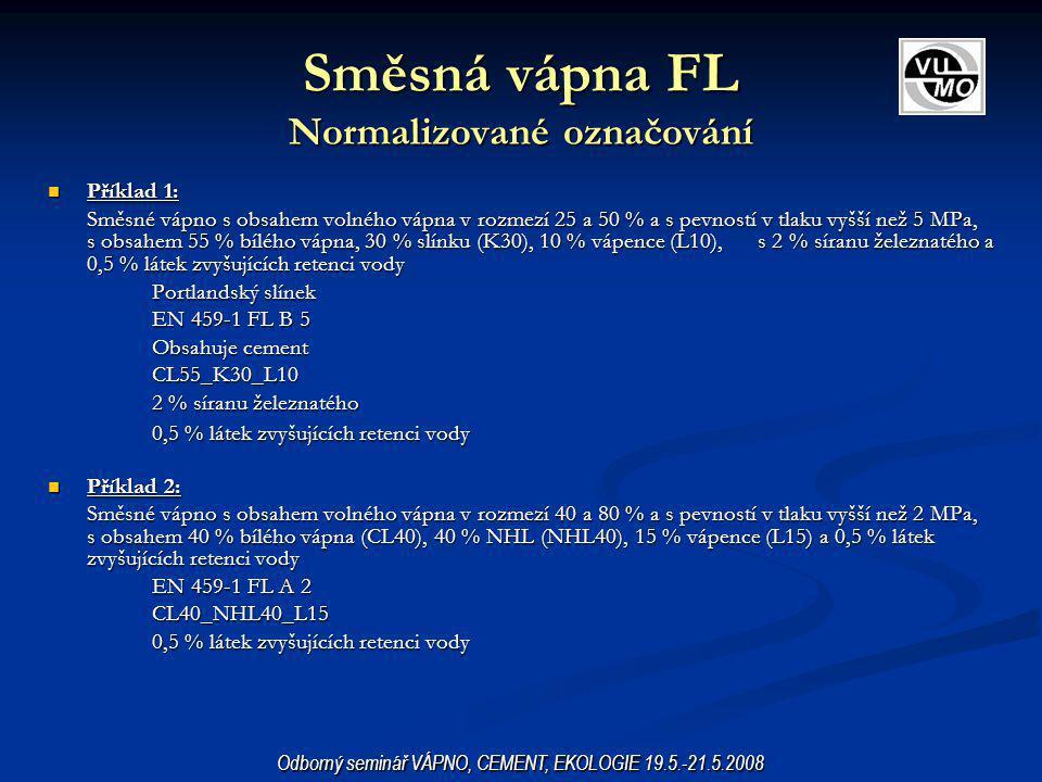 Směsná vápna FL Normalizované označování