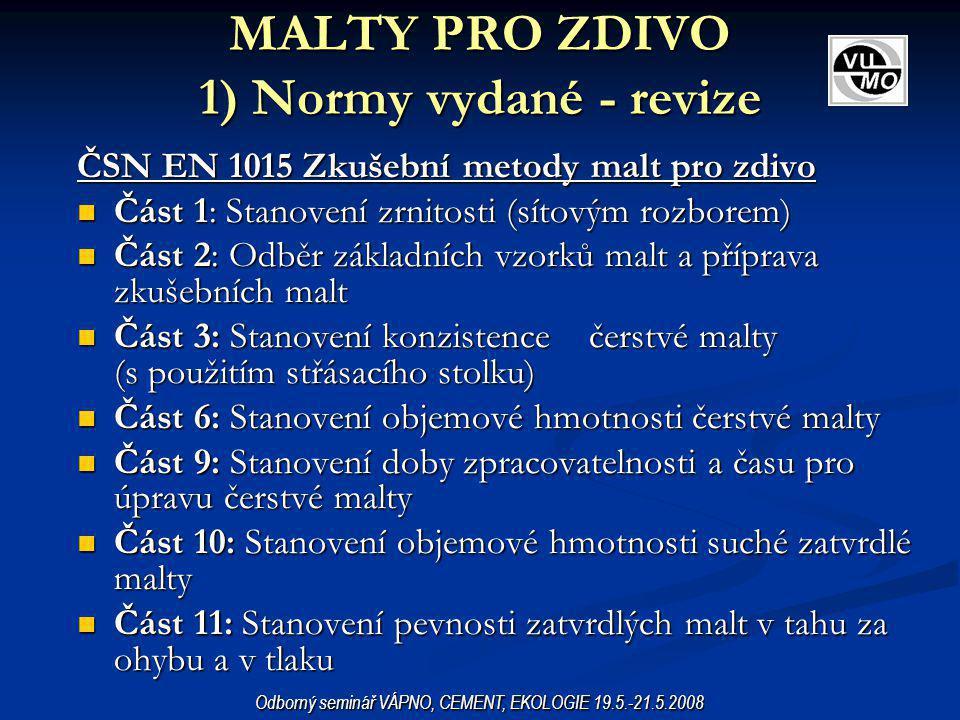MALTY PRO ZDIVO 1) Normy vydané - revize