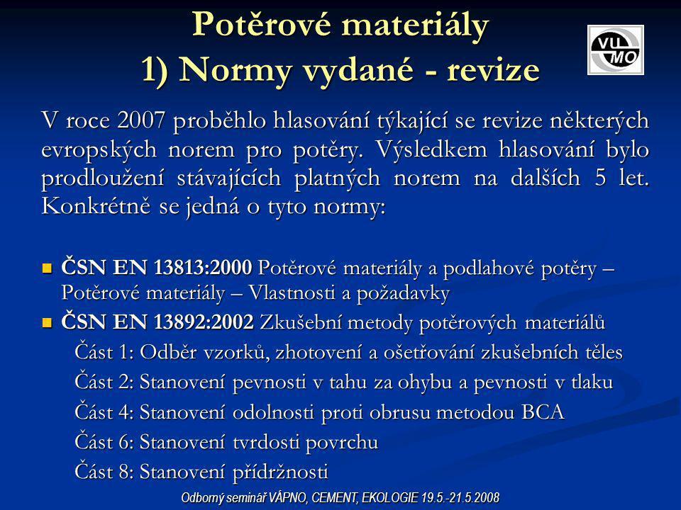 Potěrové materiály 1) Normy vydané - revize