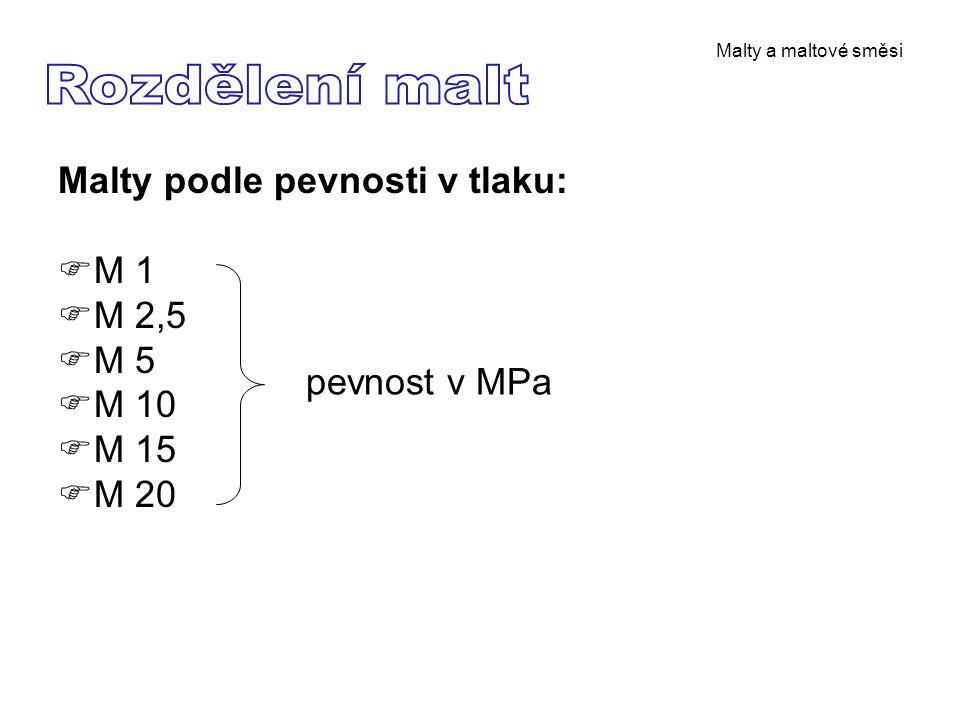 Rozdělení malt Malty podle pevnosti v tlaku: M 1 M 2,5 M 5 M 10 M 15