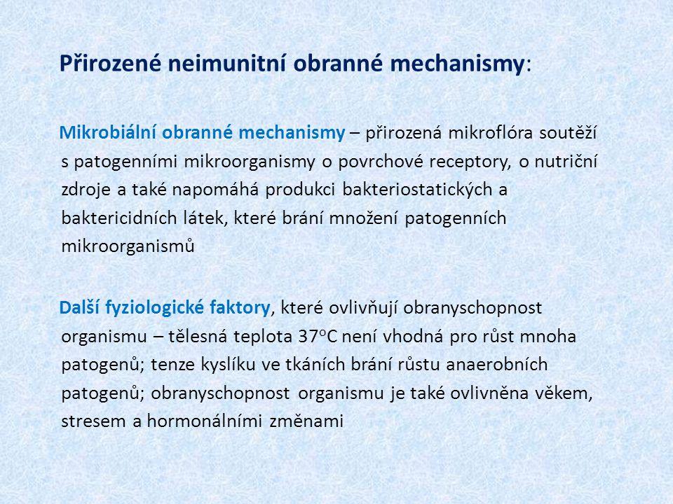 Přirozené neimunitní obranné mechanismy: