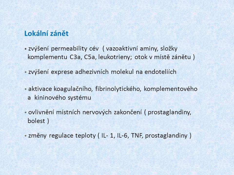 Lokální zánět * zvýšení permeability cév ( vazoaktivní aminy, složky komplementu C3a, C5a, leukotrieny; otok v místě zánětu ) * zvýšení exprese adhezivních molekul na endoteliích * aktivace koagulačního, fibrinolytického, komplementového a kininového systému * ovlivnění místních nervových zakončení ( prostaglandiny, bolest ) * změny regulace teploty ( IL- 1, IL-6, TNF, prostaglandiny )