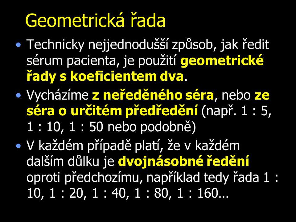 Geometrická řada Technicky nejjednodušší způsob, jak ředit sérum pacienta, je použití geometrické řady s koeficientem dva.