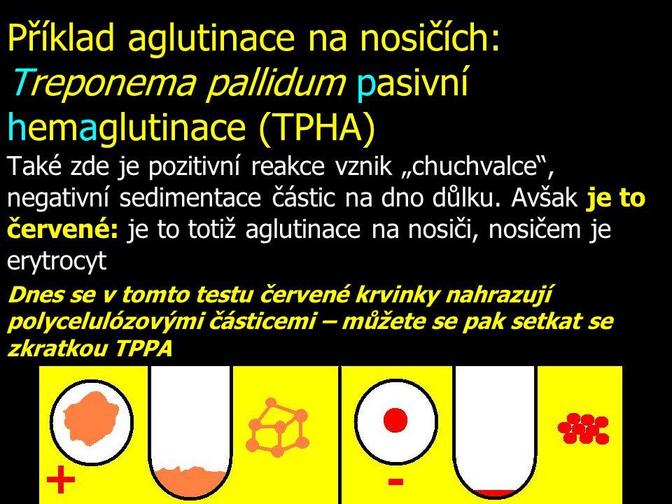 Příklad aglutinace na nosičích: Treponema pallidum pasivní hemaglutinace (TPHA)
