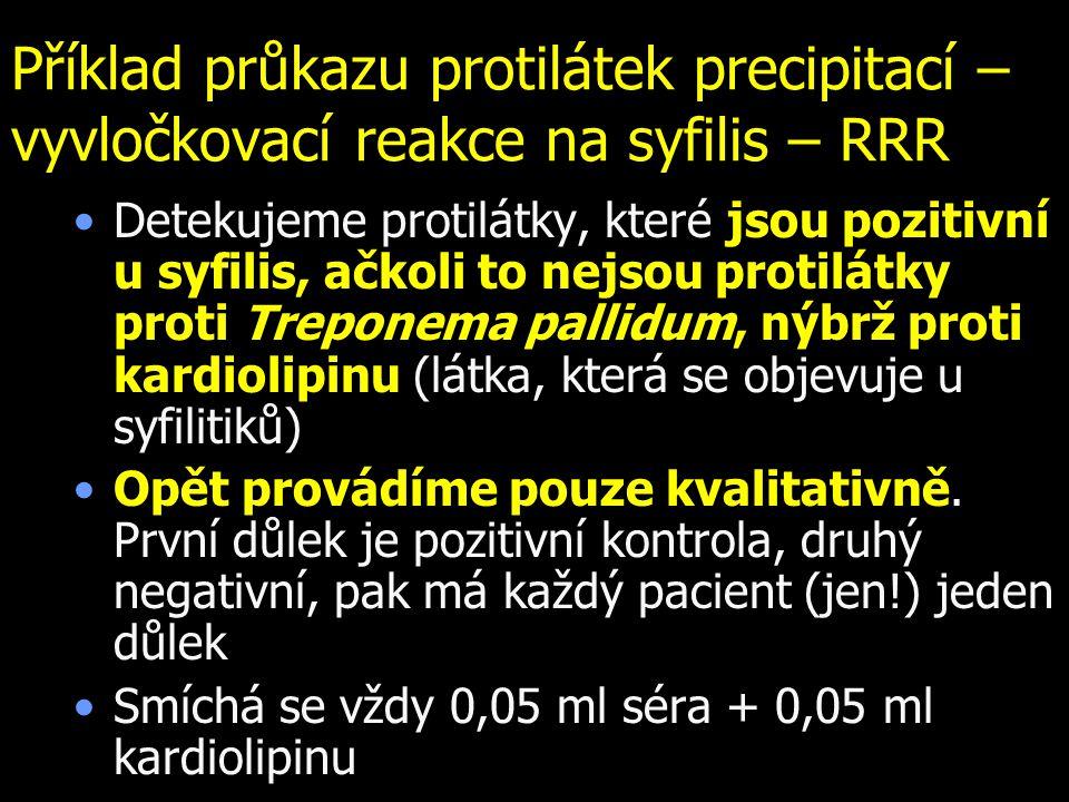 Příklad průkazu protilátek precipitací – vyvločkovací reakce na syfilis – RRR