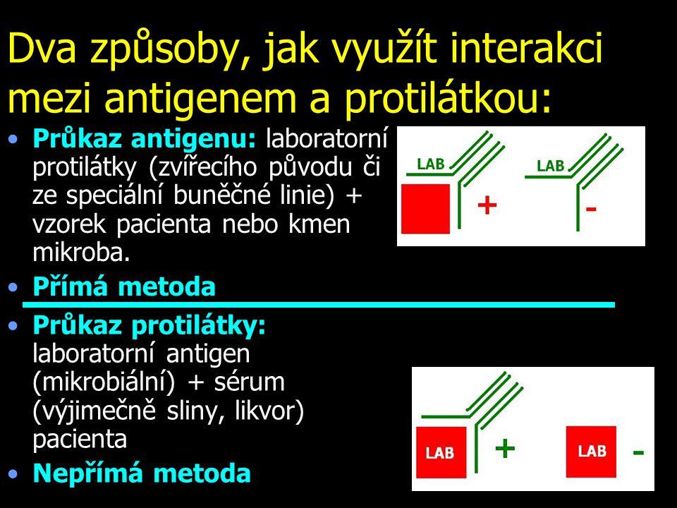 Dva způsoby, jak využít interakci mezi antigenem a protilátkou: