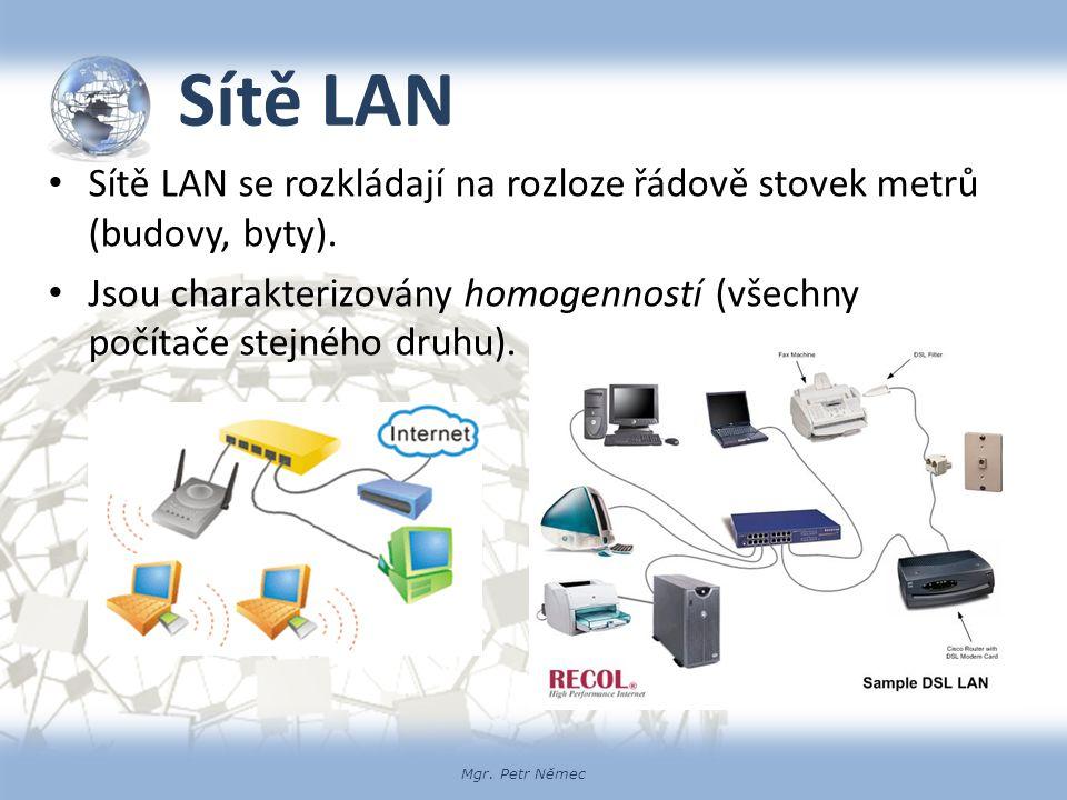 Sítě LAN Sítě LAN se rozkládají na rozloze řádově stovek metrů (budovy, byty).