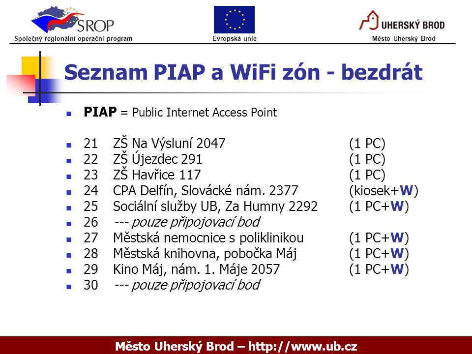 Seznam PIAP a WiFi zón - bezdrát