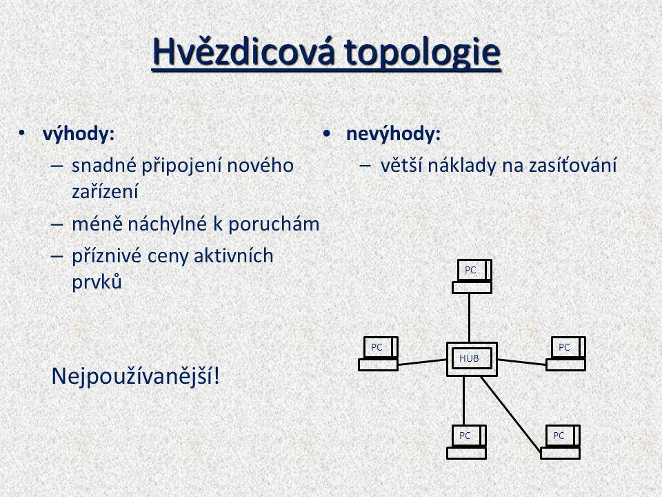 Hvězdicová topologie Nejpoužívanější! výhody: