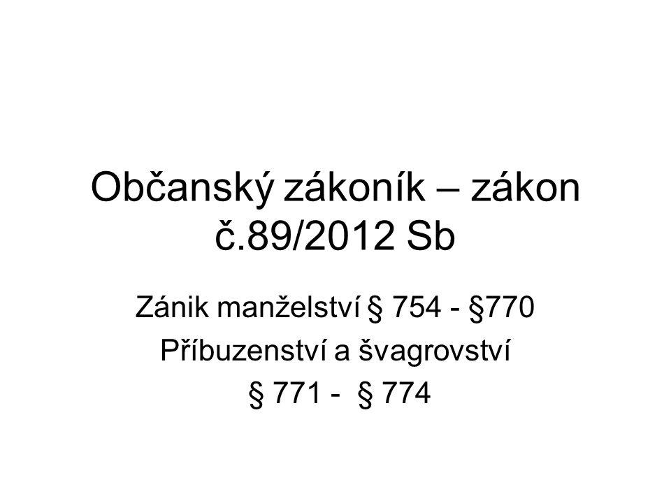 Občanský zákoník – zákon č.89/2012 Sb