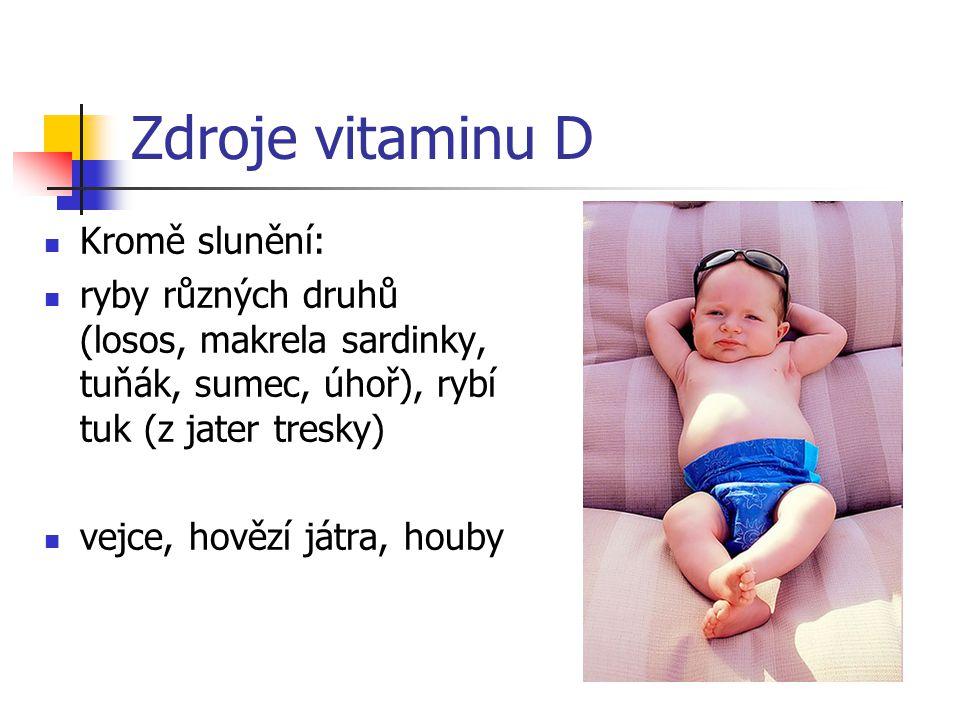 Zdroje vitaminu D Kromě slunění: