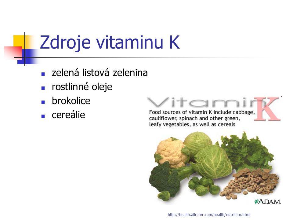 Zdroje vitaminu K zelená listová zelenina rostlinné oleje brokolice