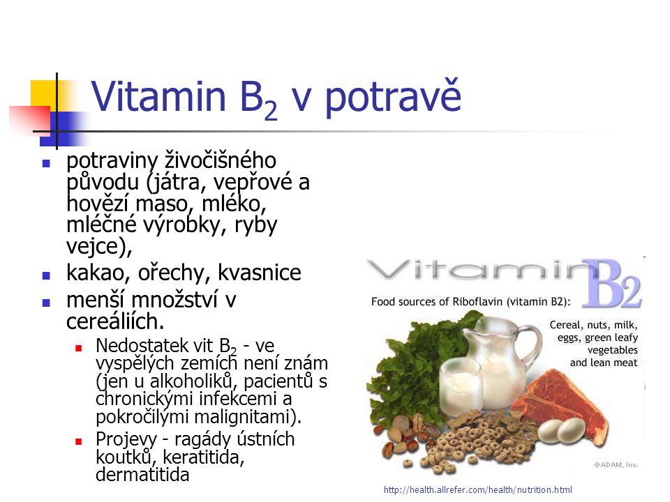 Vitamin B2 v potravě potraviny živočišného původu (játra, vepřové a hovězí maso, mléko, mléčné výrobky, ryby vejce),