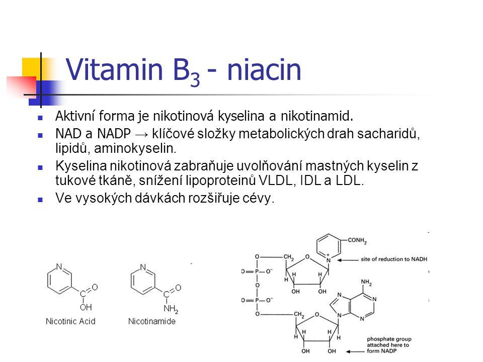 Vitamin B3 - niacin Aktivní forma je nikotinová kyselina a nikotinamid.