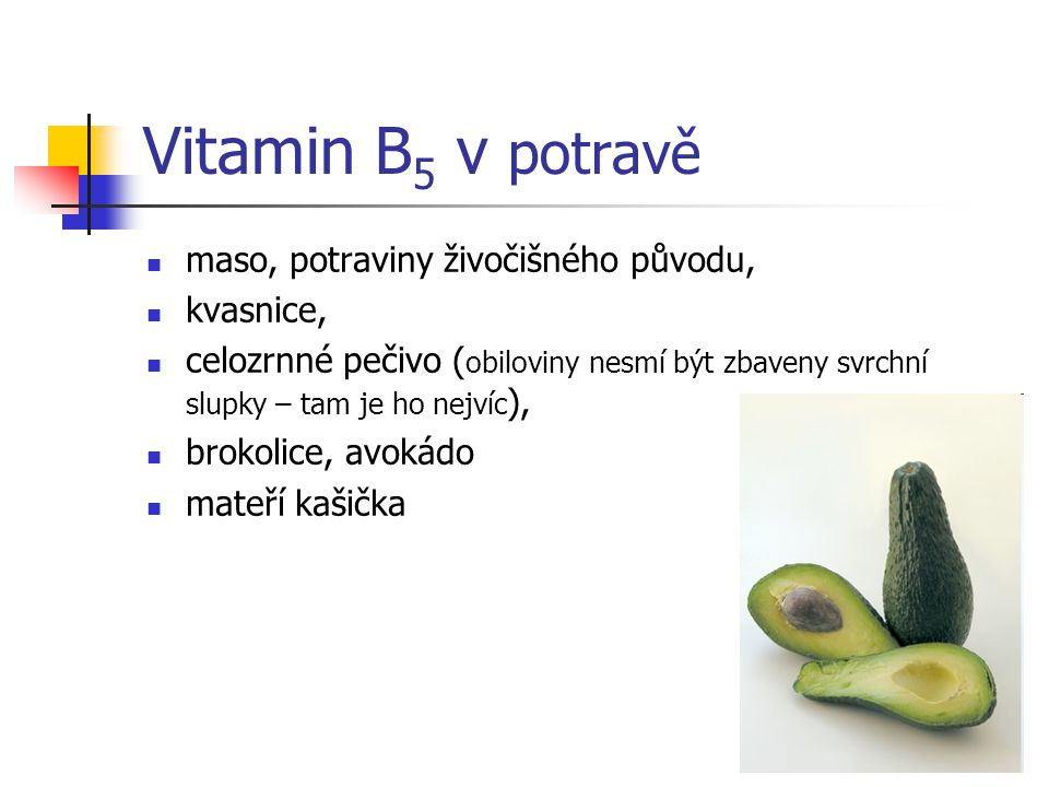 Vitamin B5 v potravě maso, potraviny živočišného původu, kvasnice,