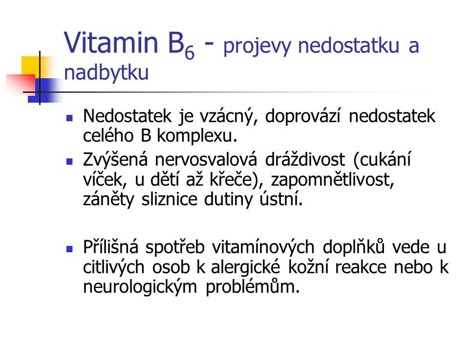 Vitamin B6 - projevy nedostatku a nadbytku