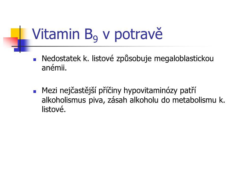 Vitamin B9 v potravě Nedostatek k. listové způsobuje megaloblastickou anémii.