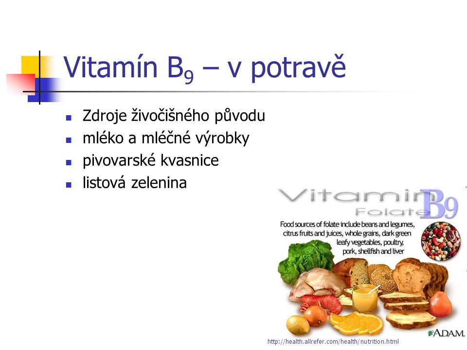Vitamín B9 – v potravě Zdroje živočišného původu