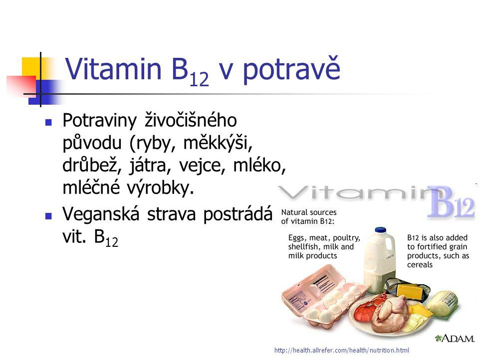 Vitamin B12 v potravě Potraviny živočišného původu (ryby, měkkýši, drůbež, játra, vejce, mléko, mléčné výrobky.