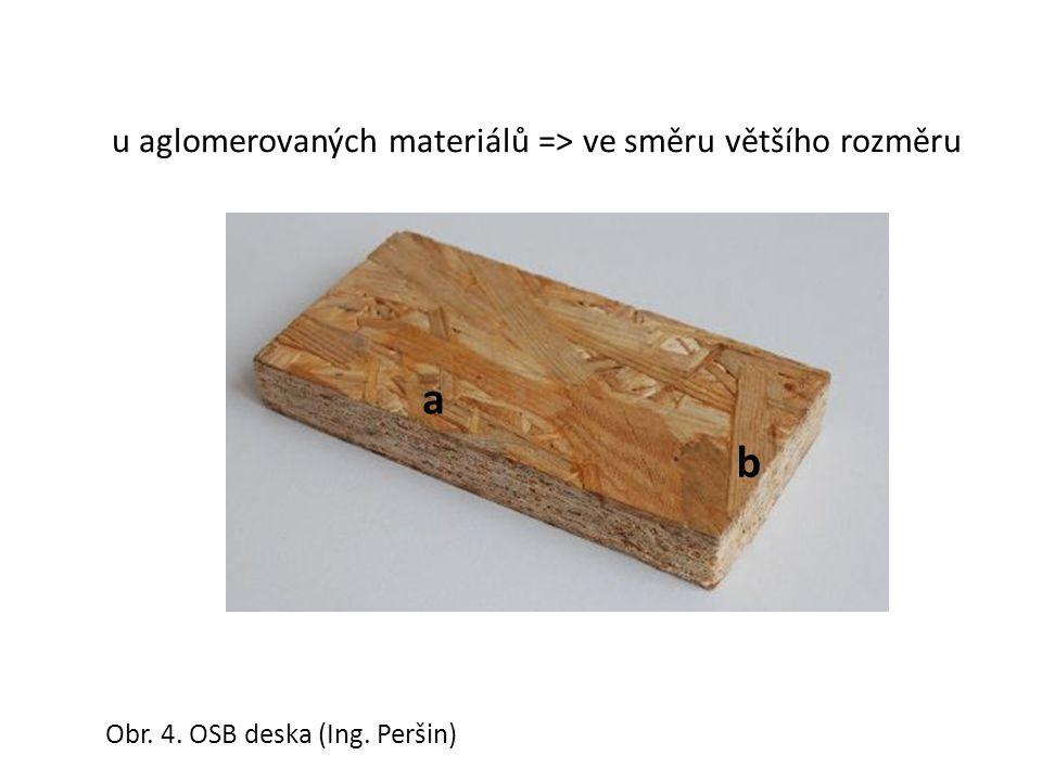 a b u aglomerovaných materiálů => ve směru většího rozměru