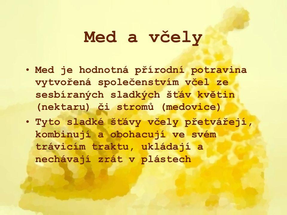 Med a včely Med je hodnotná přírodní potravina vytvořená společenstvím včel ze sesbíraných sladkých šťáv květin (nektaru) či stromů (medovice)