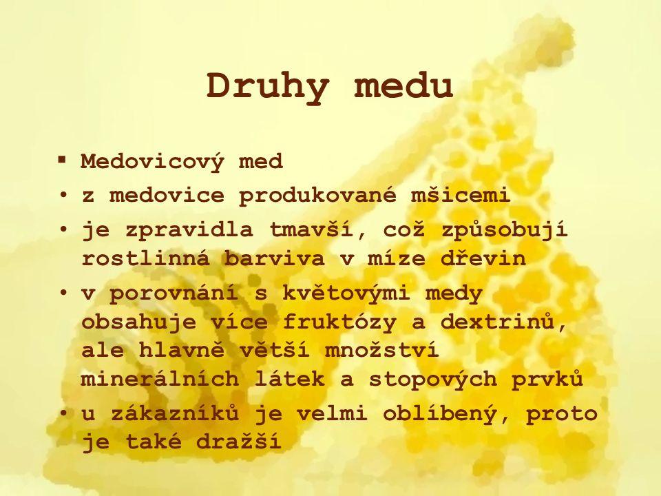 Druhy medu Medovicový med z medovice produkované mšicemi