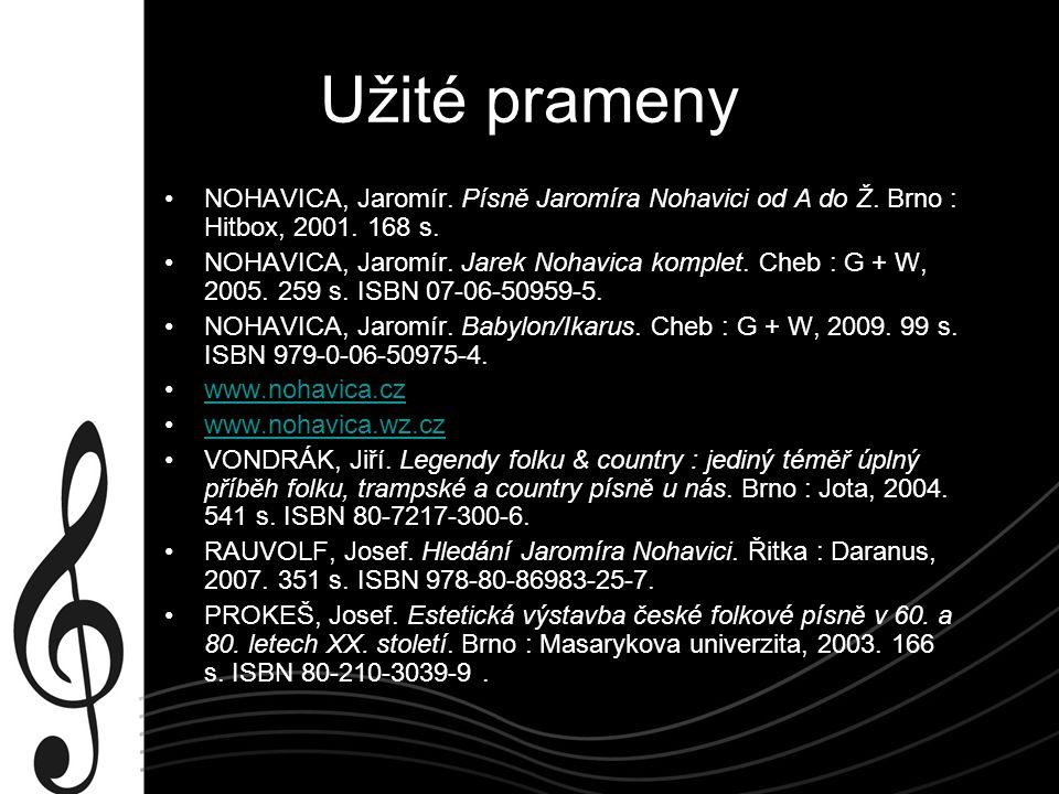 Užité prameny NOHAVICA, Jaromír. Písně Jaromíra Nohavici od A do Ž. Brno : Hitbox, 2001. 168 s.
