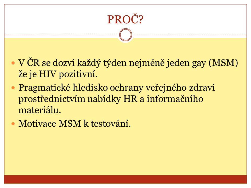 PROČ V ČR se dozví každý týden nejméně jeden gay (MSM) že je HIV pozitivní.
