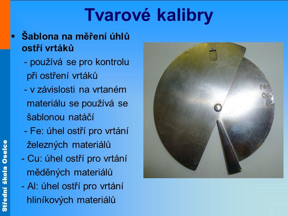 Tvarové kalibry Šablona na měření úhlů ostří vrtáků